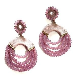 3/$25 Pink Macrame Beaded Hoop Earrings